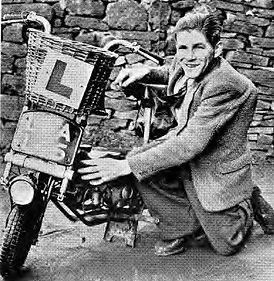 Jimmy Thompson and bike 1949.jpg