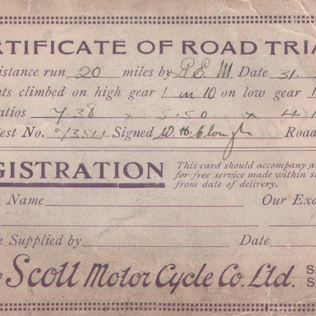 Scott Motorcycle cert. of road trials