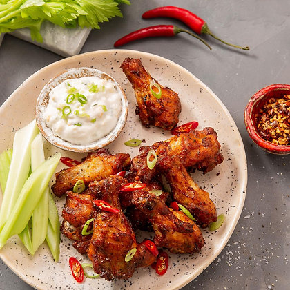 Hot & Spicy Chicken Wings 1kg - Cooked