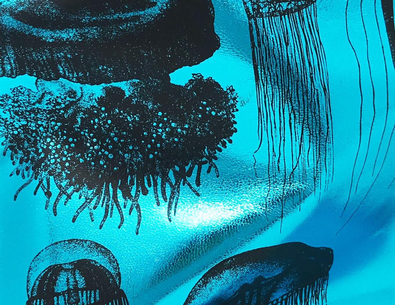 18 HOME UAU - pelle metal blu con meduse