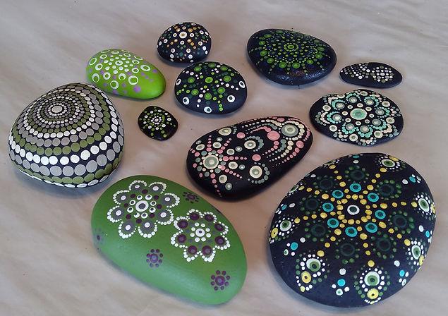green mandala stones