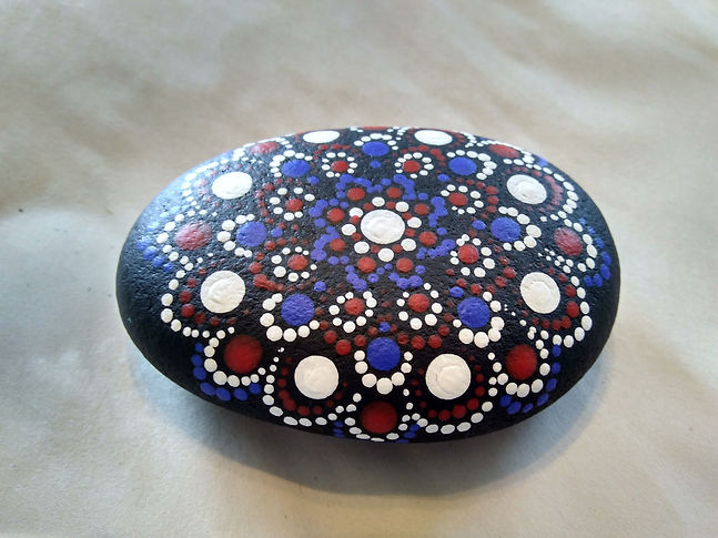 red white and blue mandala