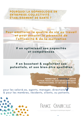 France Chaumiolle Sophrologue & Praticienne Hypnothérapie Intégrative en entreprise, collectivité, établissement de santé, établissement scolaire