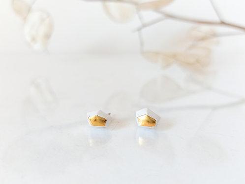náušnice GEO white&gold