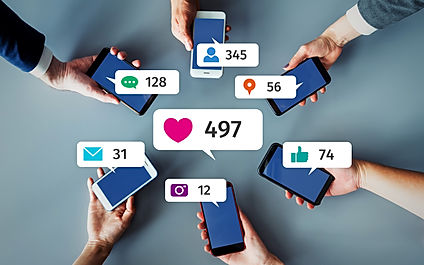 Social networking service concept. Influ