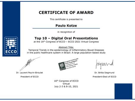 TOP-10 ECCO 2021 Award - Inflammatory Bowel Disease work with Techtrials Platform