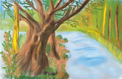 Water color Digital Forest design