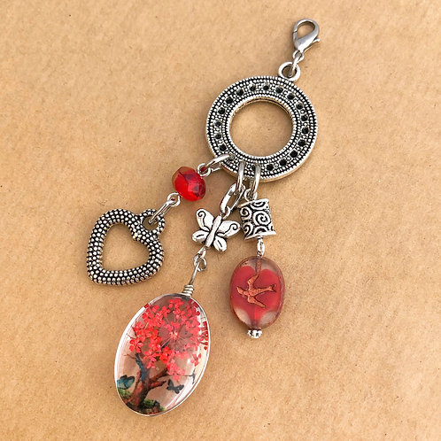 Red Pressed Flower charm set