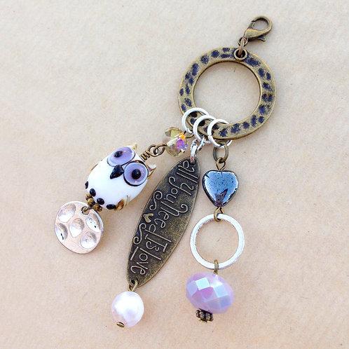 Snow Owl brass charm set
