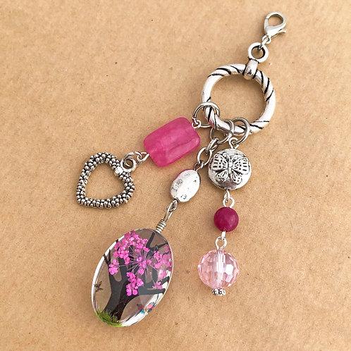Fuchsia Pressed Flower charm set