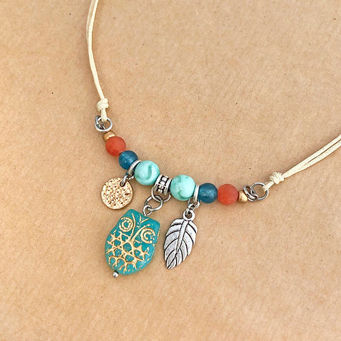 Aqua Owl necklace