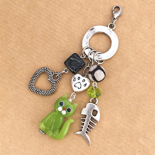 Green Cat charm set