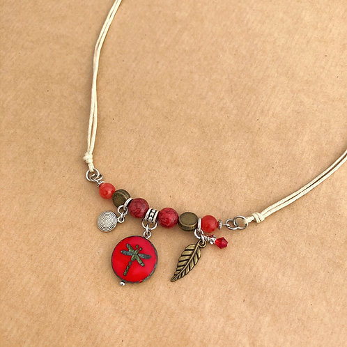 Red Dragonfly necklace