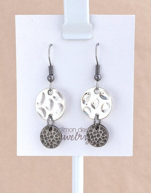 Silver & Gunmetal Circles earrings
