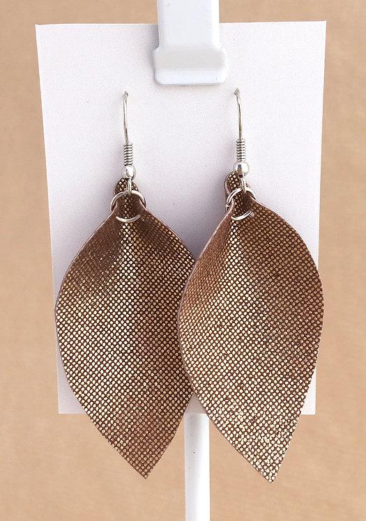 Gold Leather Petal earrings