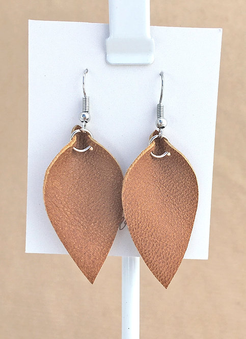 Small British Tan Leather Petal earrings