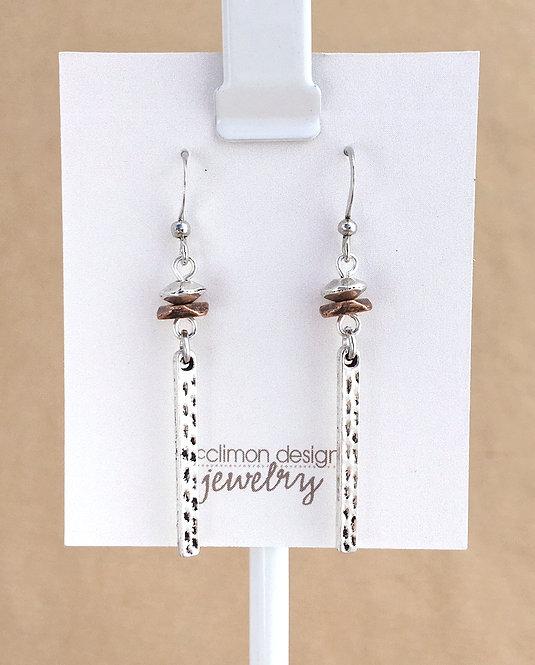 Silver & Copper Bar earrings