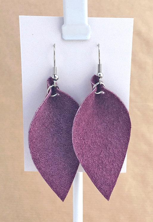 Purple Suede Petal earrings