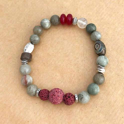 Aromatherapy stretch bracelet - Taupe Cranberry