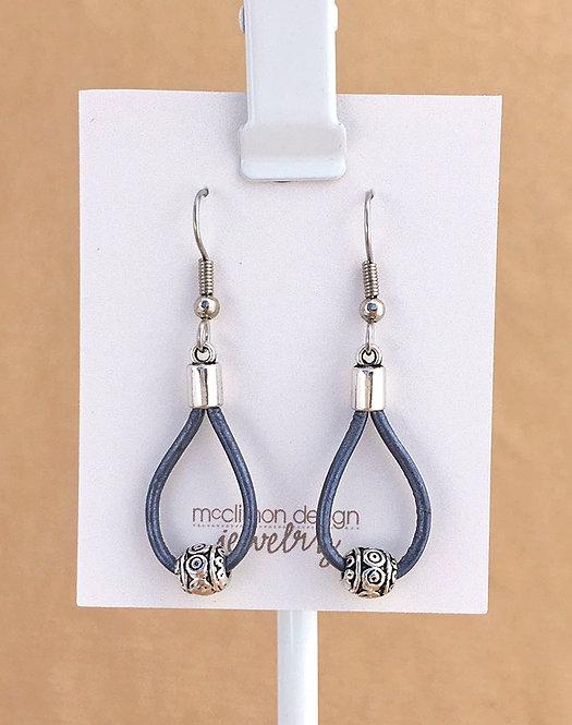 Navy Leather Loop earrings
