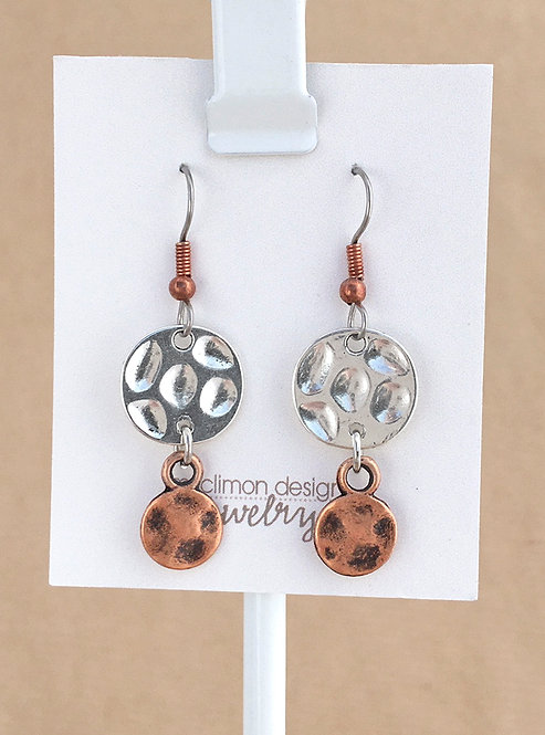 Silver & Copper Circles earrings