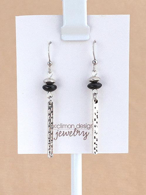 Black & Silver Bar earrings