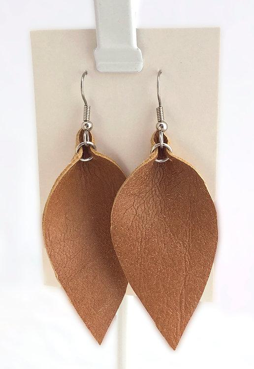 British Tan Leather Petal earrings