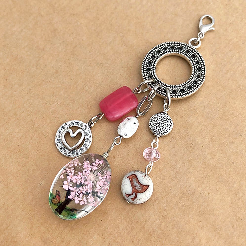 Pink Pressed Flower charm set