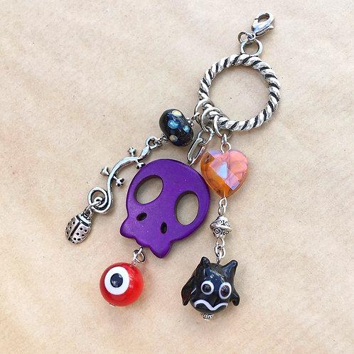 Purple Skull Halloween charm set
