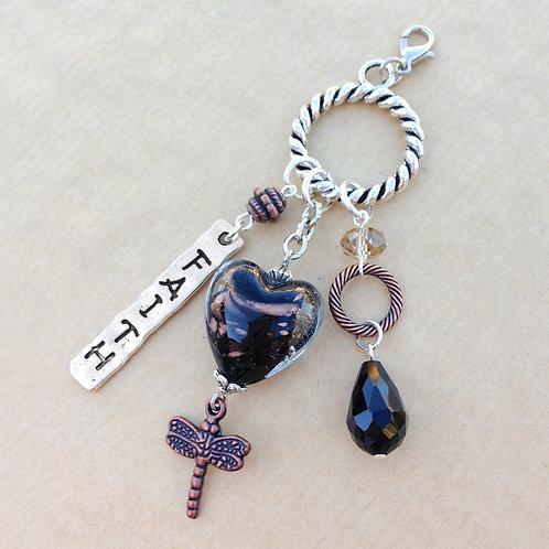 Black & Copper Heart charm set