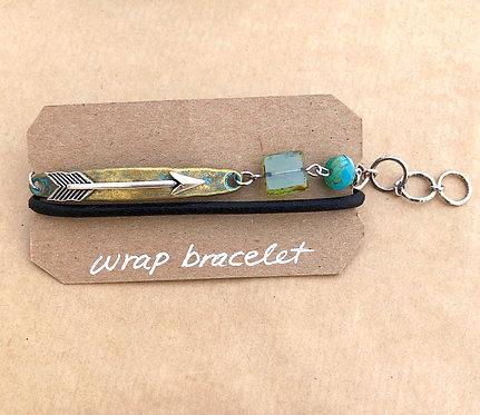 Leather Wrap bracelet - brass & aqua