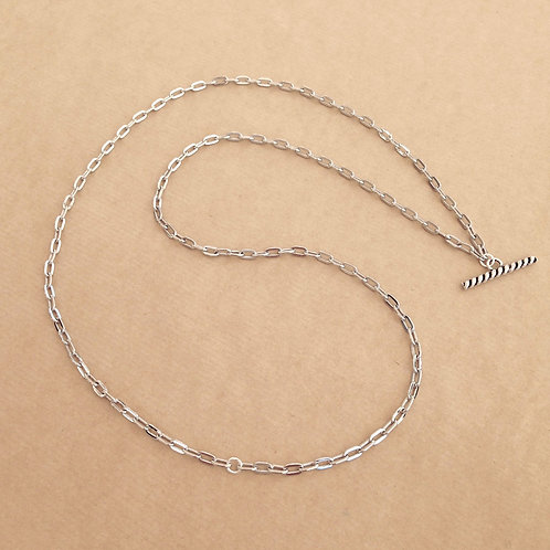 Silver medium-link chain with 'Rope' toggle
