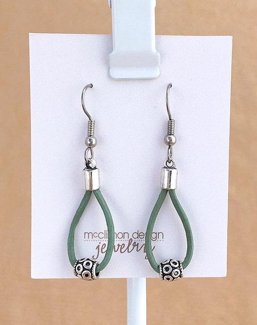 Green Leather Loop earrings