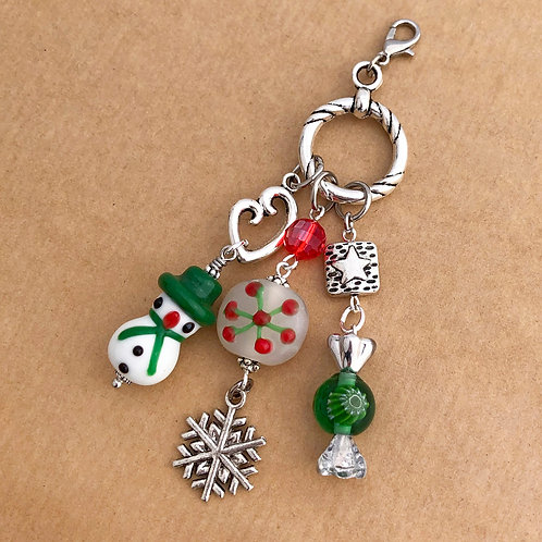 Snowman with Green Hat charm set