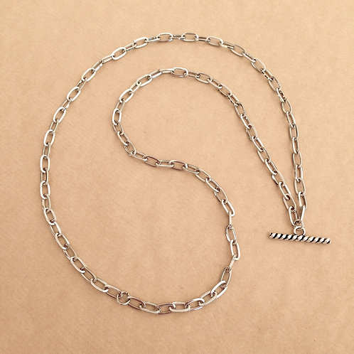 Silver large-link chain with 'Rope' toggle