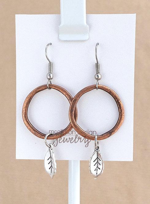 Copper Hoop & Leaf earrings