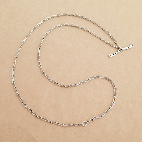 Silver small-link chain with 'Hammered' toggle