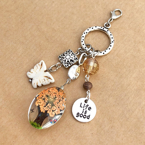 Orange Pressed Flower charm set