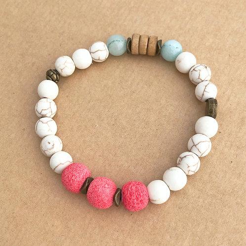 Aromatherapy stretch bracelet - Coral