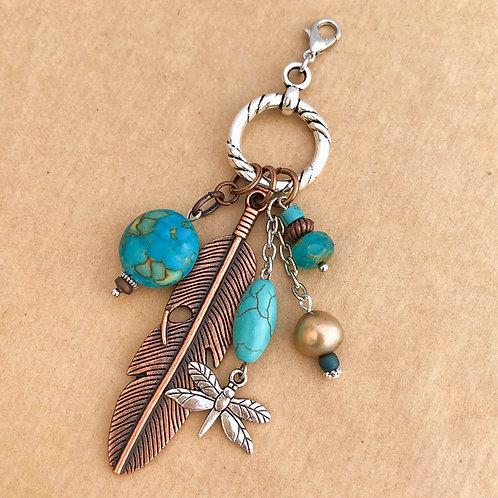 Copper Feather charm set