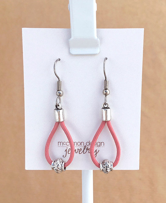 Pink Leather Loop earrings