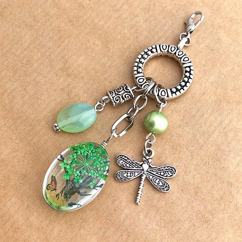 Green Pressed Flower charm set