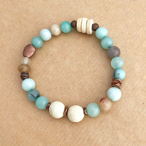 Aromatherapy stretch bracelet - Aqua