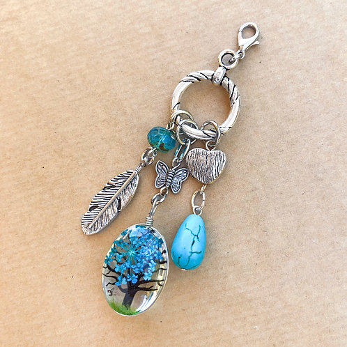 Turquoise Pressed Flower charm set