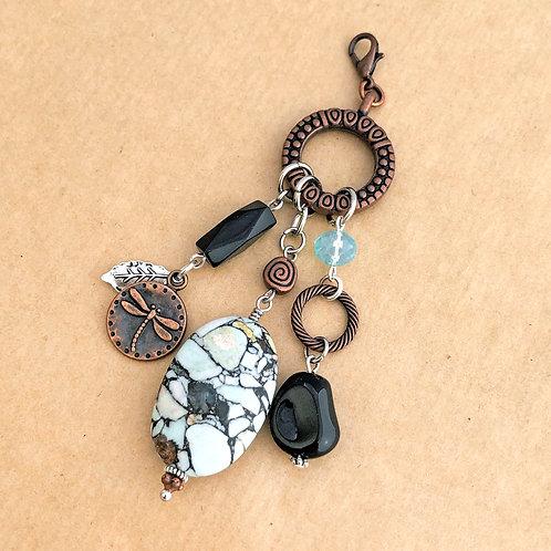 Copper Black & White Impressionist charm set