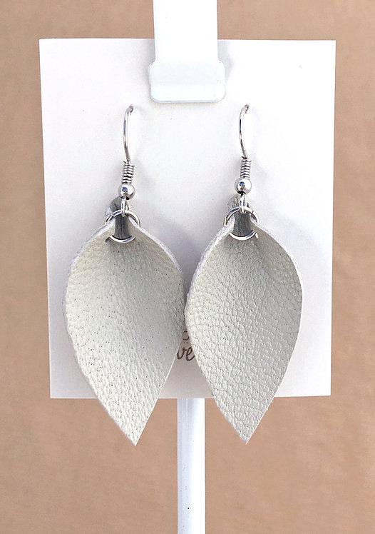Small Ecru Leather Petal earrings