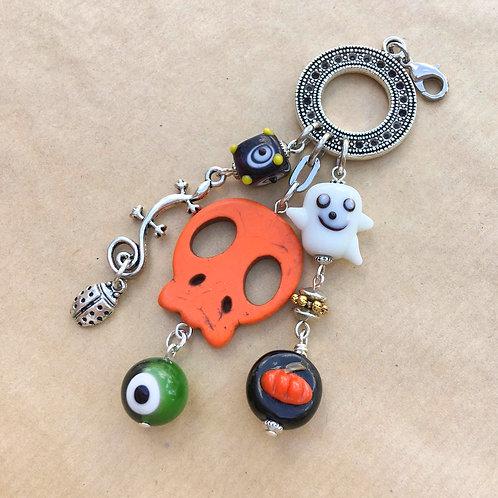 Orange Skull Halloween charm set