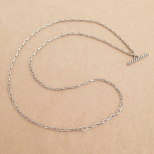 Silver small-link chain with 'Rope' toggle
