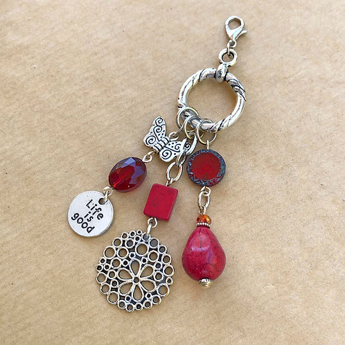 Red 'Life is Good' charm set