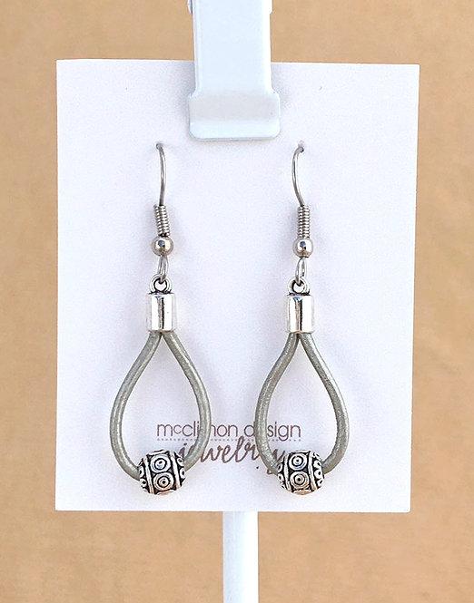 Silver Leather Loop earrings